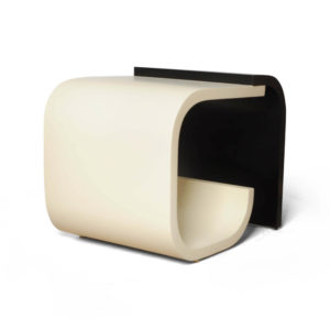 Bono Dark Brown and Cream Rectangular Side Table Beside View