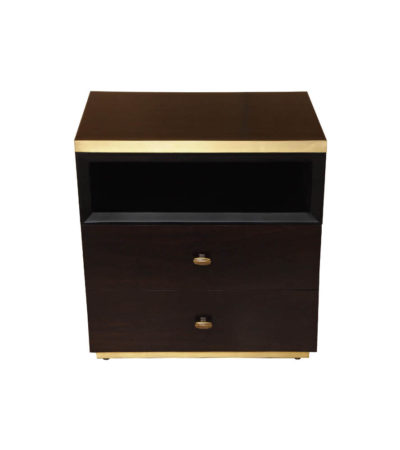 Manu Dark Brown Bedside Table with Drawer and Shelf
