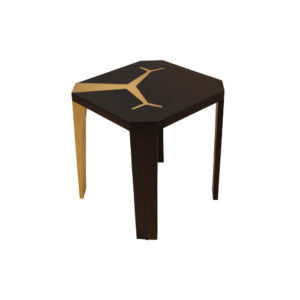 Tree Square Wood and Steel Side Table Beside View