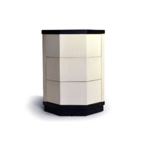 Drue Wood Dark Brown and Cream Bedside Table