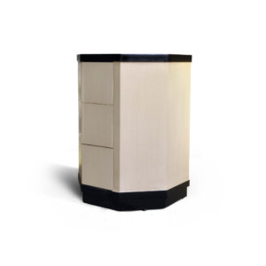 Drue Wood Dark Brown and Cream Bedside Table Beside View