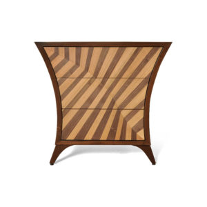 Sahco Curved Brown and Beige Bedside Table Front View