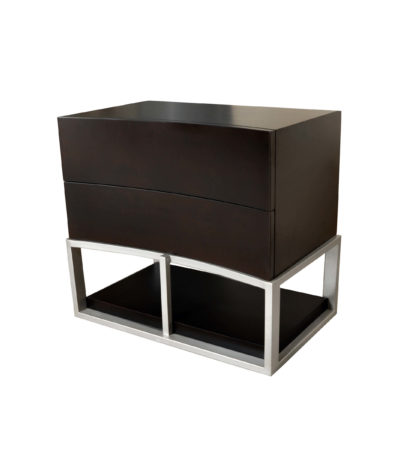 Dusk Wood And Stainless Steel Bedside Table