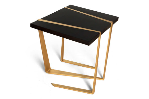 Anais Wooden Side Table With Gold Stainless Steel Legs