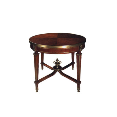 Avers French Style Round Side Table with Copper Ornament