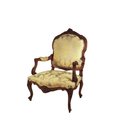 Elegant French Arm Chair with Hand Carved Detailed and Upholstery Luxury Fabric