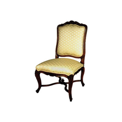 Classical Dining Chair with Luxury Upholstered Fabric and Hand Carved Wood