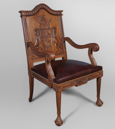 English Armchair with Hand Carved Englanderline Wooden Detailed and Upholstery Natural Leather