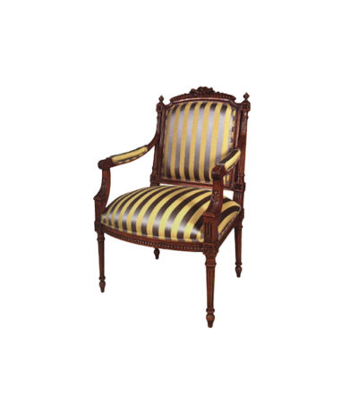 Luxury French Armchair with Hand Carved Detailed and Upholstery Stripe Fabric