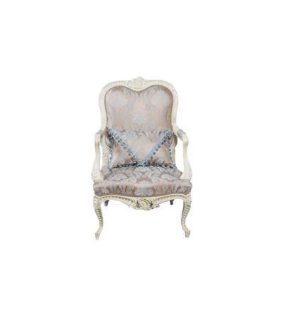 Antique French Style Armchair Hand Carved Wood Upholstery Luxury Fabric