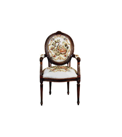 Vintage Armchair with French Style Tapestry Upholstery
