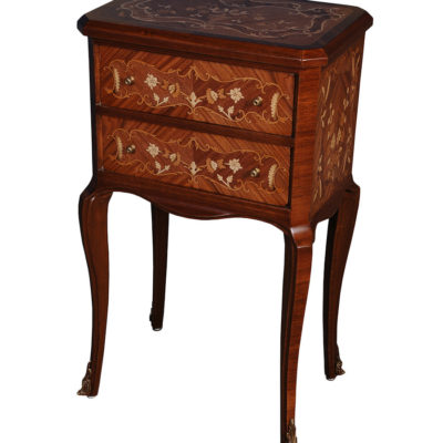 Antique Side Table with Two Drawers and Handcrafted Marquetry Veneer Inlay