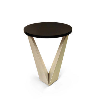 Luca Dark Brown and Cream V Shaped Small Round Side Table