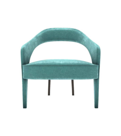 Archy Upholstered Round Back Arm Chair Turquoise