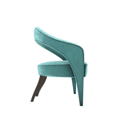 Archy Upholstered Round Back Arm Chair Turquoise Right Side View
