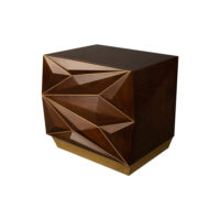 Atlantis Mahogany Brown Bedside Table with Brass Inlay Top View