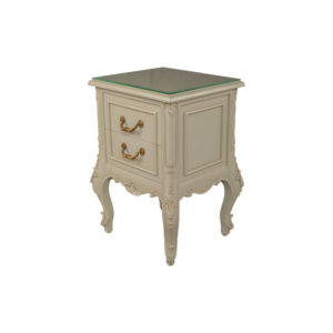 Dixon Wood Light Grey Lacquer Bedside Table Top View