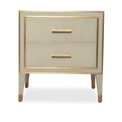 Emma Grey And Wood Bedside Table With Brass Inlay