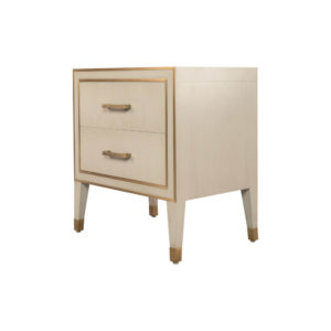 Emma Grey and Wood Bedside Table with Brass Inlay Beside View