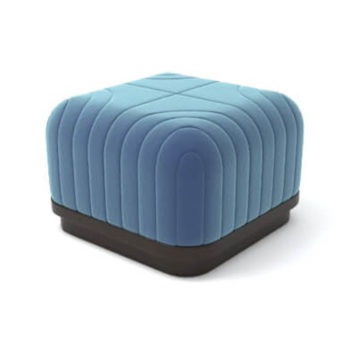 Lorna Upholstered Square Pouf with Wooden Base