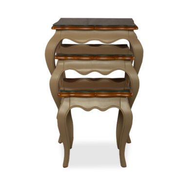 Mallory Wood Beige Nest Side Table With Glass Top