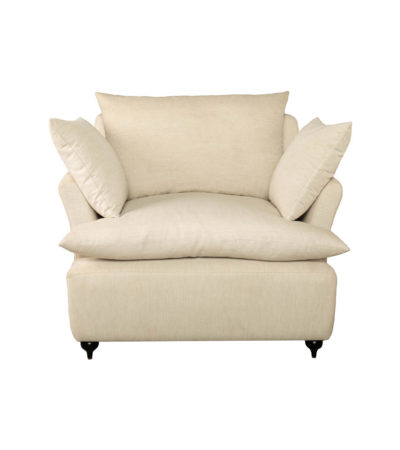 Mars Upholstered Off White Armchair with Cushions