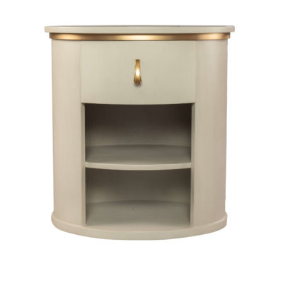Nova Oval Gray Bedside Table With Brass Inlay
