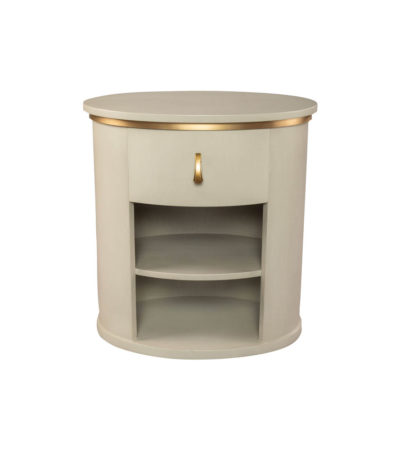 Nova Oval Gray Bedside Table with Brass Inlay Top View