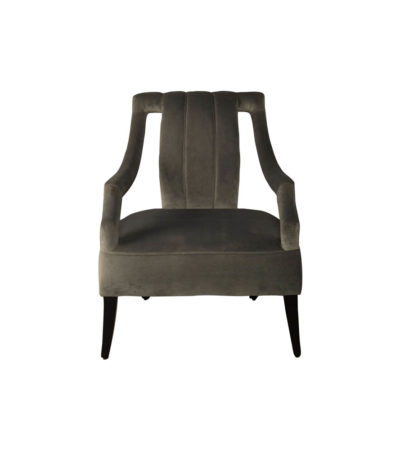 Shelley Upholstered Dark Grey Armchair with Black Wood Legs