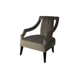 Shelley Upholstered Dark Grey Armchair with Black Wood Legs Beside View