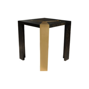 Tree Distressed Square Wood and Stainless Side Table Corner View