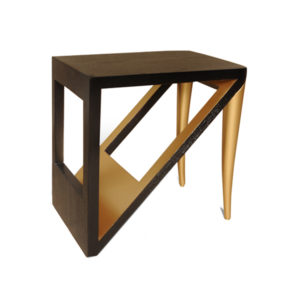 Jayden Black Square Side Table With Golden Legs