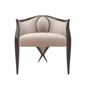 Oval Upholstered Wood Frame Armchair