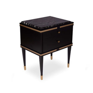 Arabelle Bedside Table Black Top