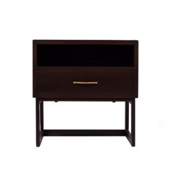 Ascot Black Brown Bedside Table With Shelf And Stainless Leg