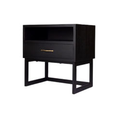 Ascot Black Bedside Table with Shelf and Stainless Leg Beside View