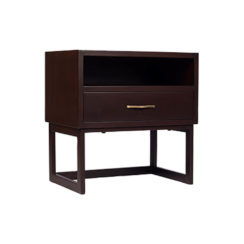 Ascot Black Brown Bedside Table with Shelf and Stainless Leg Beside View