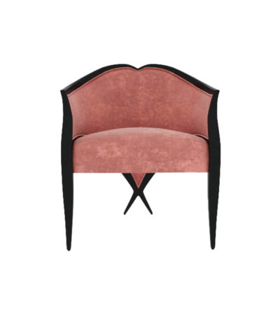 Bali Upholstered Wooden Frame Blush Velvet Armchair with Cross Legs