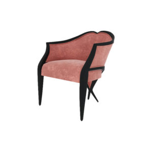 Bali Upholstered Wooden Frame Blush Velvet Armchair with Cross Legs Beside View