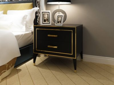 Black Oak Veneer Bedside Table