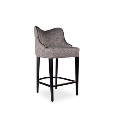 Elise Upholstered Studded Grey Fabric Bar Stool Beside View