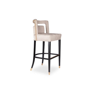 Mara Upholstered Beige Bar Stool Beside View