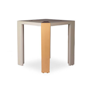 Tree Square Grey Side Table with Golden Stainless Leg Corner View
