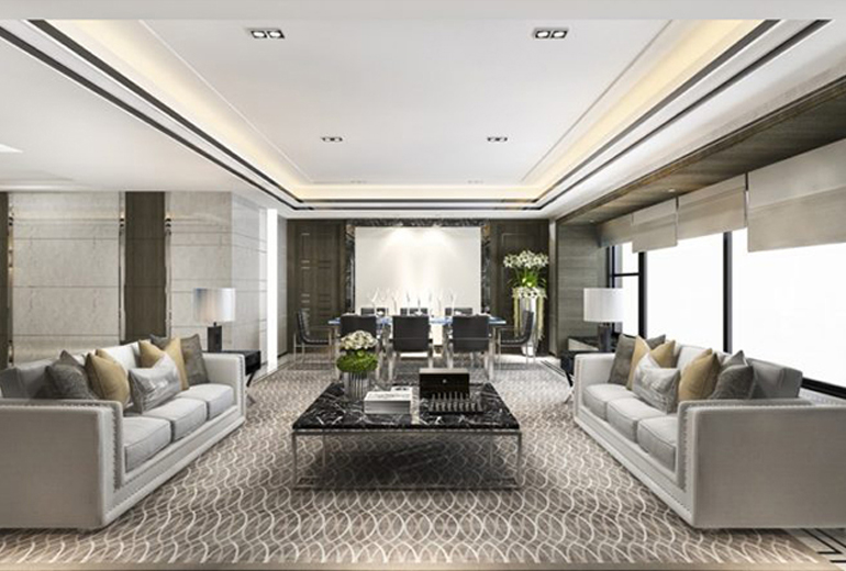 3d rendering classic luxury living room lobby lounge