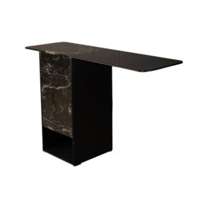 Sylvan Black Wood and Marble Console Table Side View