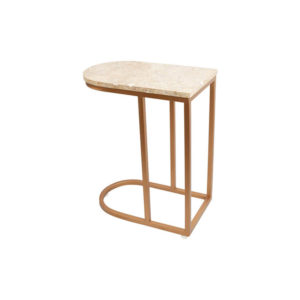 Allure Stainless Steel and Marble Side Table Backside View