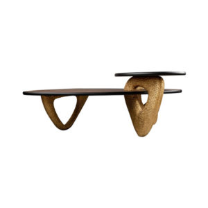Aziza Gold and Dark Brown Modern Wooden Coffee Table