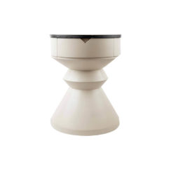 Bishop Cream White Lacquer Bedside Table With Marble Top