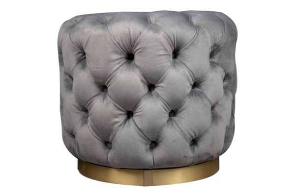 Boho Round Buttoned Taupe Pouf With Brass Base