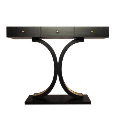 Fresno Dark Brown 3 Drawer Console Table with Curved Legs Front View